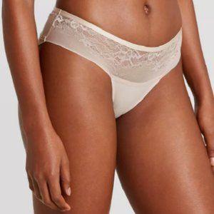 Auden Panty Size XS Bonded Micro Bikini Underwear Beige Taupe Lace NWT